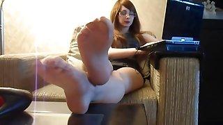 Rina foxxy nylon voet spelen