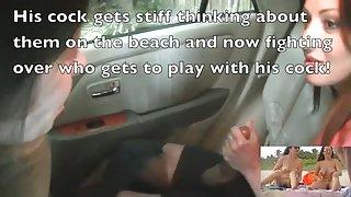 Vrouwen plagen naakt strand voyeurs